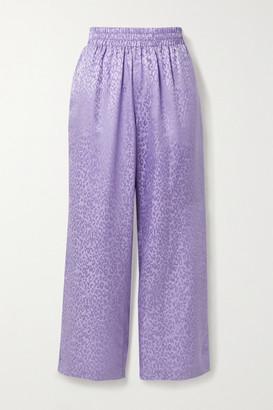 Les Rêveries Silk-satin Jacquard Straight-leg Pants - Lavender