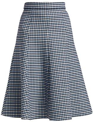 Michael Kors Tattersall Stretch-Wool Midi Skirt
