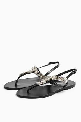 Topshop PARIS Black Leather Jewel Sandals