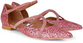 Malone Souliers Pink Glitter Veronica Pointed Flats