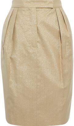 Max Mara Nigeria Pleated Metallic Wool-blend Mini Skirt