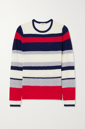 Jason Wu Striped Pointelle-knit Wool Sweater - Navy