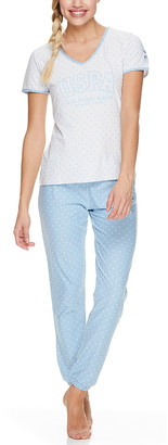 U.S. Polo Assn. Women's Sleep Bottoms WHT - White & Blue V-Neck Tee & Pants Pajama Set - Women & Plus