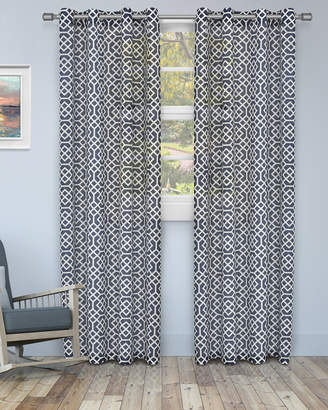 Florence & Strada Honeycomb Embroidered Sheer Curtain Panel Pair, 84""