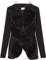 Christopher Kane Pleat-front collarless crepe jacket