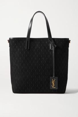 Saint Laurent Mini Leather-trimmed Embossed Suede Tote - Black