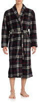 Black Brown 1826 Striped Plaid Fleece Robe