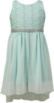 Jayne Copeland Little Girls' Lace and Chiffon High-Low Dress