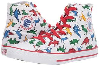 Converse Chuck Taylor All Star(r) Dinoverse - Hi (Little Kid/Big Kid) (White/Enamel Red/Totally Blue) Boy's Shoes