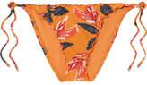 Vix Tulum Floral-print Bikini Briefs - Orange