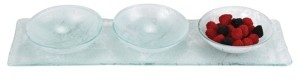 Badash Crystal 3 Bowl White Serving Tray