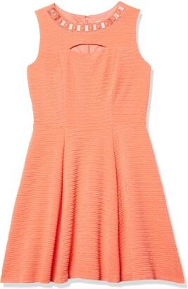 Sandra Darren Women's 1 Pc Sleeveless Solid Knit Fit & Flare Necklace Dress