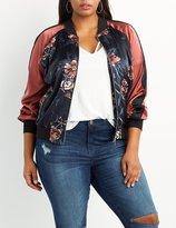 Charlotte Russe Plus Size Floral Satin Bomber Jacket