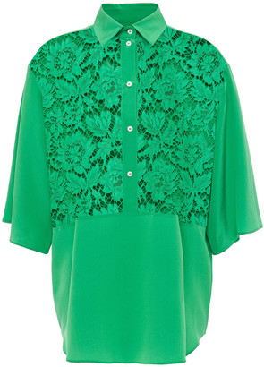 Valentino Paneled Cotton-blend Corded Lace And Silk Crepe De Chine Shirt