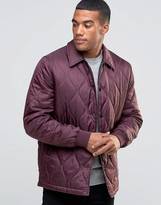 Asos Quilted Jacket In Ripstop Fabric In Burgundy