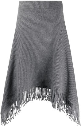 Paco Rabanne Ribbed Knit Midi Skirt