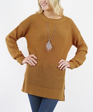 Lydiane Women's Tunics COFFEE - Coffee Crewneck Side-Slit Sweater - Women