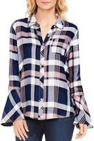 Vince Camuto Brecken Bell Sleeve Plaid Shirt