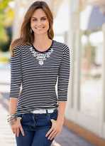 Together Bead Embellished Stripe Jersey Top