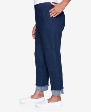 Alfred Dunner Women's Missy Denim Friendly Ankle Cuff Pants with Boucle Trim