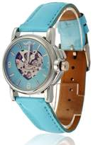 Fanmis Womens Girls Skeleton Automatic Mechanical Stainless Steel Gifts Heart Shape Watches