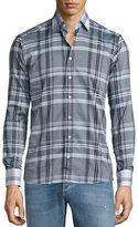 Etro Plaid Sport Shirt with Contrast Collar, Multi