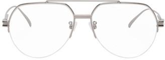Bottega Veneta Silver and Transparent Aviator Glasses
