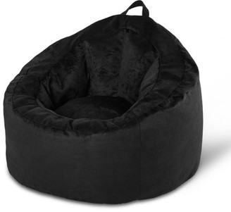 Your Zone Bean Bag Lounge Chair with Pocket, Navy