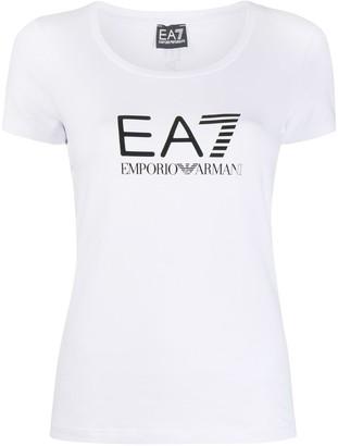 EA7 Emporio Armani logo-print scoop neck T-shirt