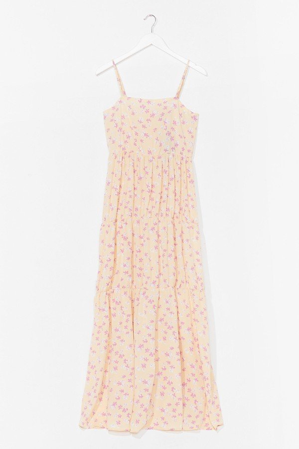 Nasty Gal Womens Floral Spaghetti Strap Tiered Maxi Dress - Yellow - 10