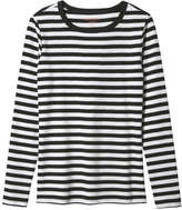 Joe Fresh Women's Long Sleeve Stripe Tee, Black (Size XL)