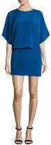 Halston Half-Sleeve Stretch-Faille Popover Dress, Ultramarine