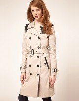 Selected Ava Coat With Leather Panel Details