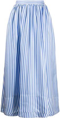 Jil Sander pinstriped gathered A-line midi skirt