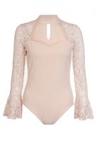 Quiz Nude Crepe Frill Lace Sleeve Bodysuit