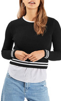 Topshop Mixed Stripe Layer Top