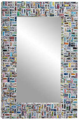 Brimfield & May Large Rectangular Mirror w/ Colorful Abstract Art Magazine Frame, Rect