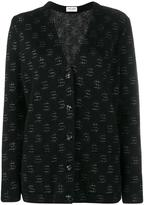 Saint Laurent dollar print oversize cardigan - women - Polyamide/Viscose/Mohair/Metallic Fibre - XS