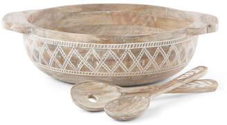 Lenox Textured Neutrals Wood Salad Bowl/2 Servers
