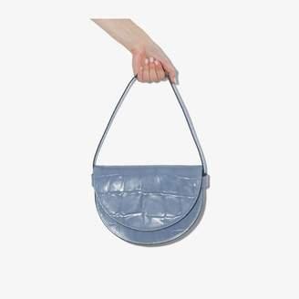STAUD light blue Amal large mock croc leather shoulder bag