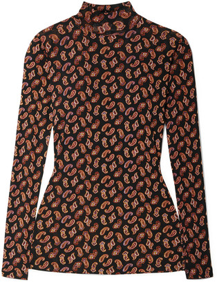 Diane von Furstenberg Remy Paisley-print Stretch-mesh Turtleneck Top