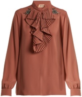 No.21 NO. 21 Crystal-embellished ruffled-front crepe blouse