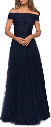 La Femme Embellished Off the Shoulder Mesh Gown