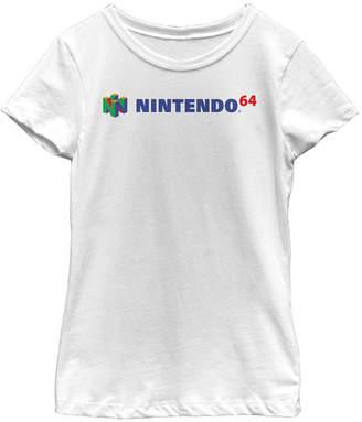 Fifth Sun Nintendo Big Girls Classic Full N64 Logo Short Sleeve T-Shirt