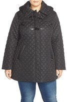 Ellen Tracy Plus Size Women's Toggle Closure Quilted A-Line Coat