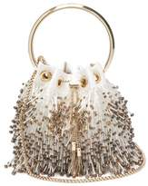 Jimmy Choo Bon Bon Bead-fringed Satin Clutch - Womens - Cream