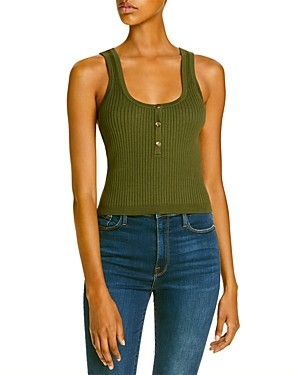 Sally Wu Designs Lini Ribbed Knit Henley Tank - 100% Exclusive