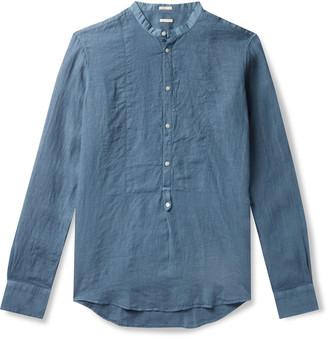 Massimo Alba Kos Garment-Dyed Grandad-Collar Poplin-Trimmed Linen Half-Placket Shirt