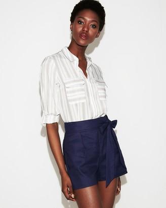Express High Waisted Sash Tie Linen-Blend Shorts