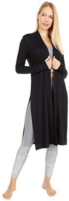 Beyond Yoga High Slits Long Duster (Black) Women's Clothing